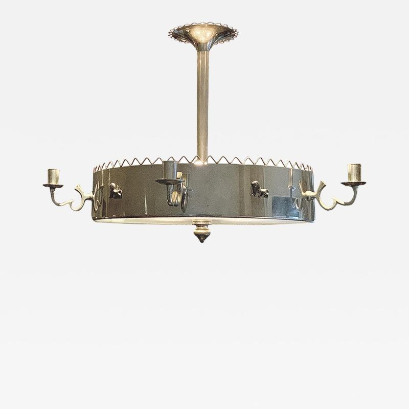 Estrid Ericson Art Deco nickel Plated chandelier by Estrid Ericson and Anna Petrus