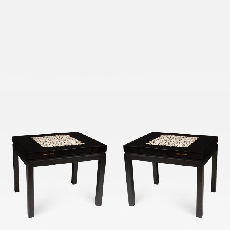 Etienne Allemeersch Rare pair of travertine inset resin side tables by Allemeersch