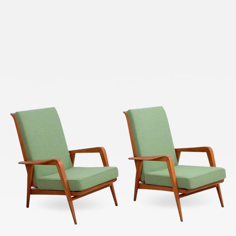 Etienne Henri Martin Pair of New Upholstered Etienne Henri Martin Lounge Chairs