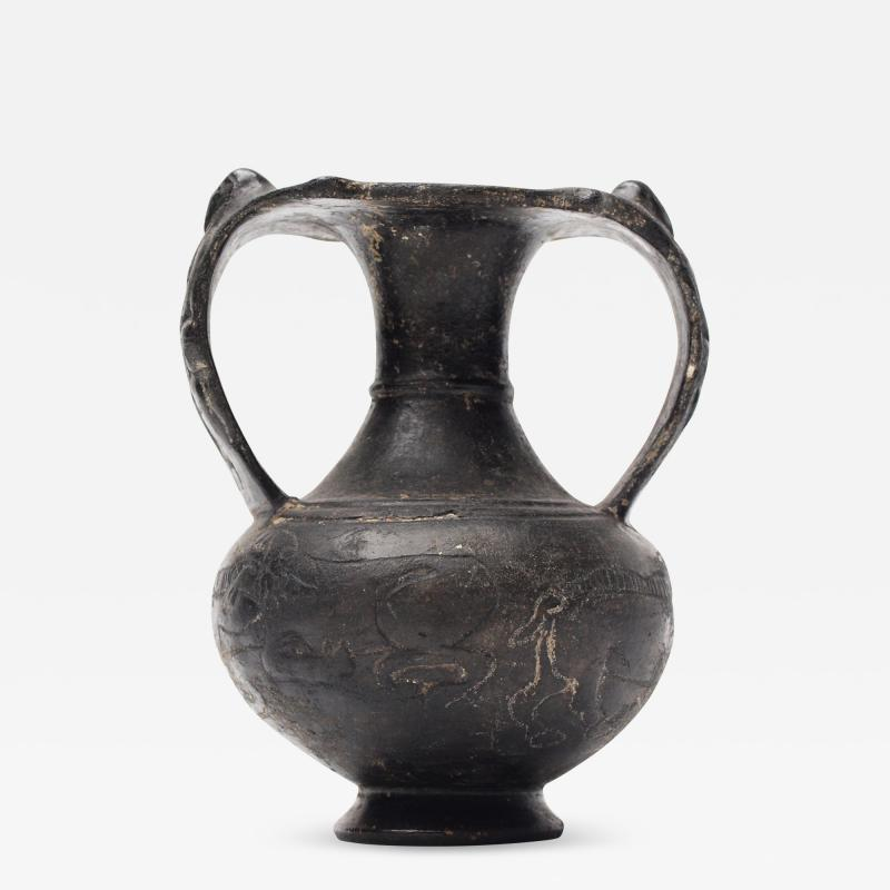 Etruscan Bucchero Black Ware Two Handle Vase
