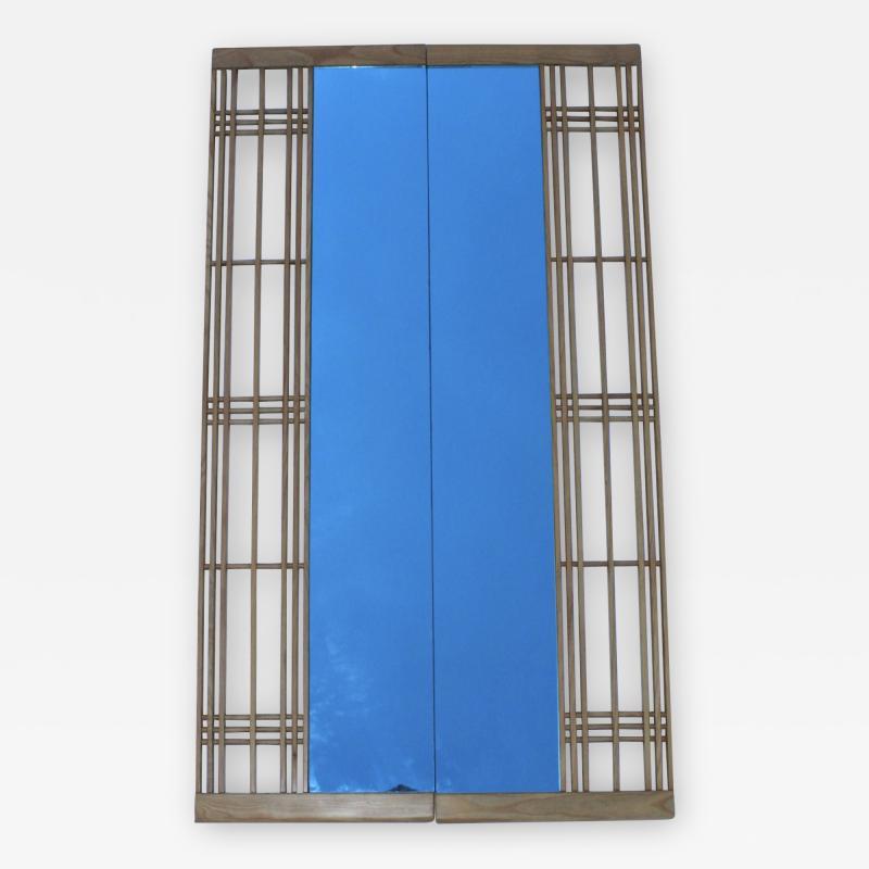 Ettore Sottsass Ettore Sottsass Style Oak And Blue Glass Two Piece Mirror