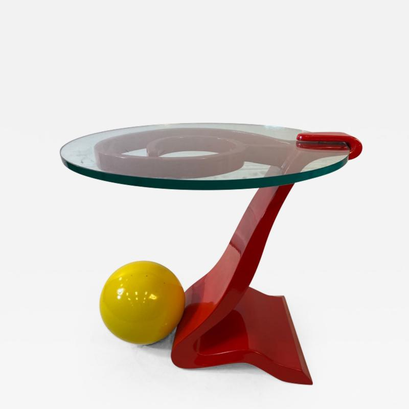 Ettore Sottsass ITALIAN POST MODERN MEMPHIS ENAMELED RED AND YELLOW METAL TABLE