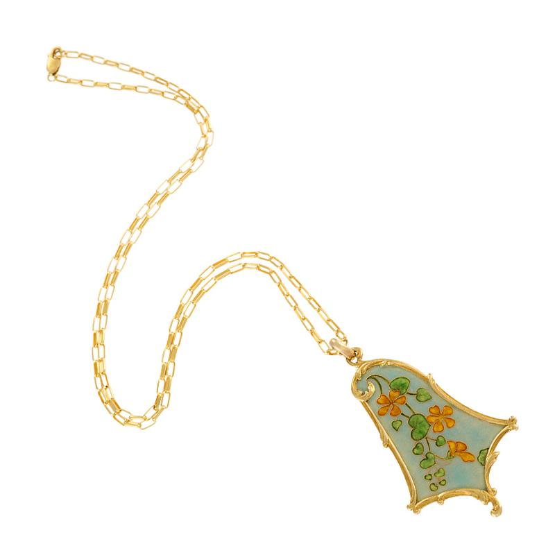 Eug ne Feuill tre Eug ne Feuill tre French Art Nouveau Gold and Enamel Floral Pendant Necklace