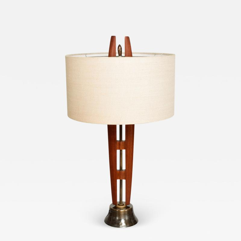Eugenio Escudero Midcentury Mexico Sculptural Airy Table Lamp Mahogany Wood Patinated Brass 1950s