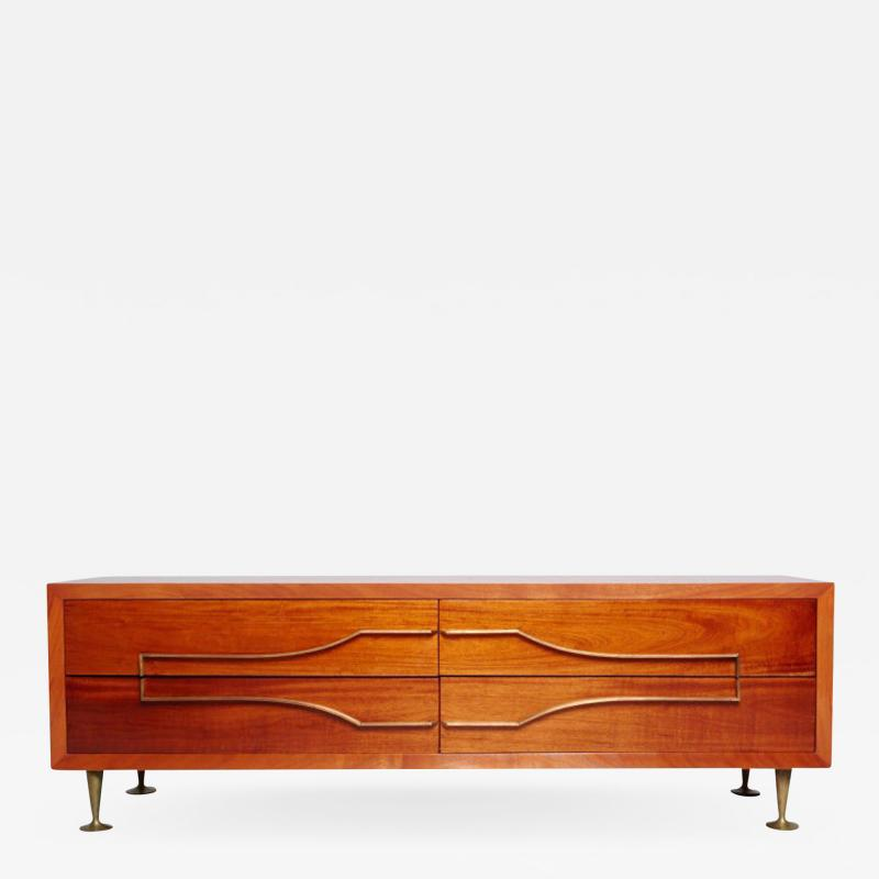 Eugenio Escudero Sublime Double Dresser Mahogany Brass by Modernist Eugenio Escudero 1950s