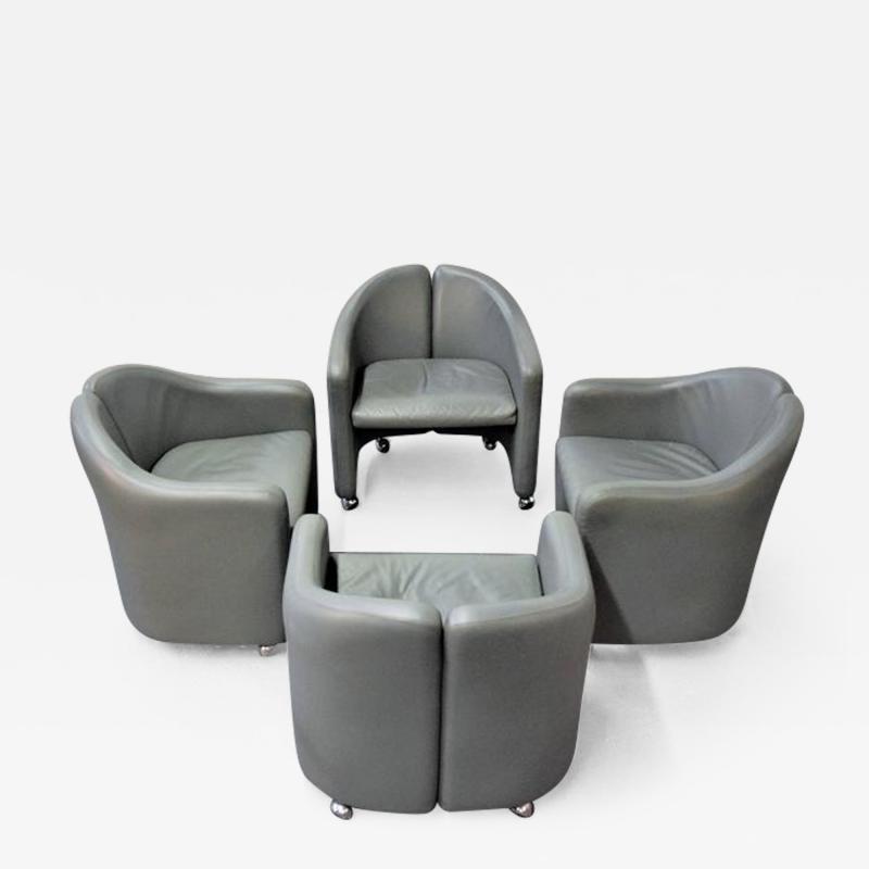 Eugenio Gerli Set of Four Eugenio Gerli for Tecno Leather Chairs