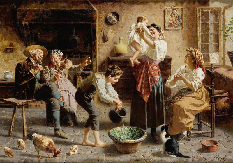 Eugenio Zampighi A Fine Italian Painting of the Baby s Bath by Eugenio Zampighi