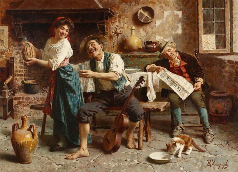 Eugenio Zampighi A Fine Zampighi Oil Painting of a Tavern Scene