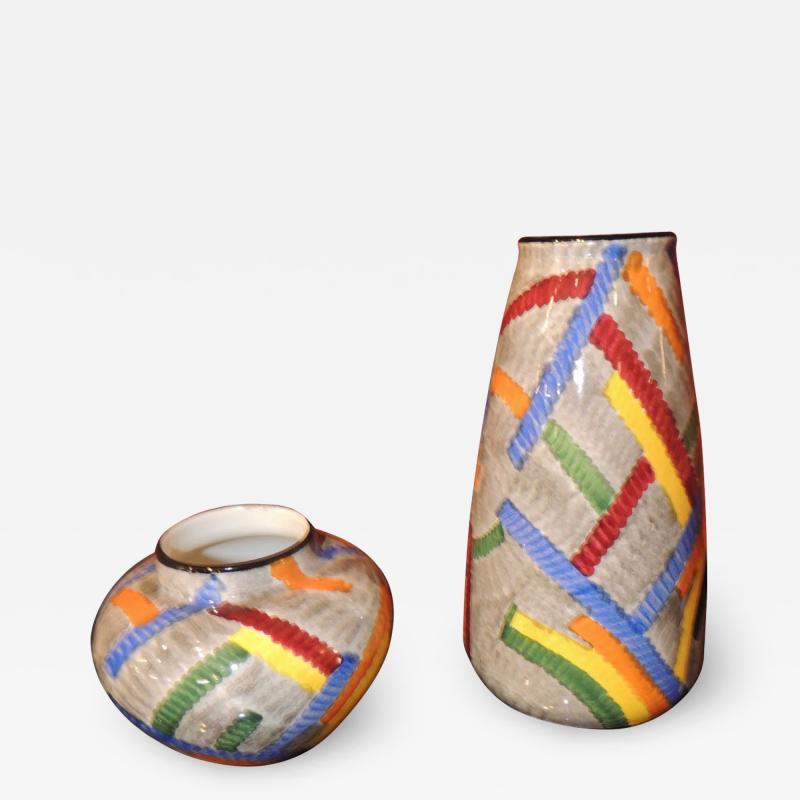 Eva Zeisel Pair of Art Deco Ceramic Vases by Eva Zeisel