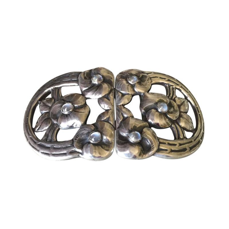 Evald Nielsen Evald Nielsen 830 Silver Rare Belt Buckle with Moonstones