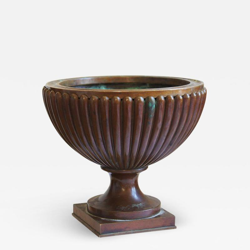 Evan Jensen Reeded and Footed Urn in Patinated Bronze by Evan Jensen