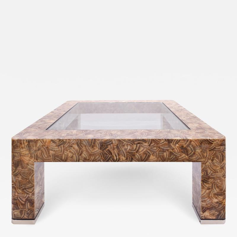 Evan Lobel Lobel Originals Nautilus Coffee Table In Lacquered Shells and Steel Sabots