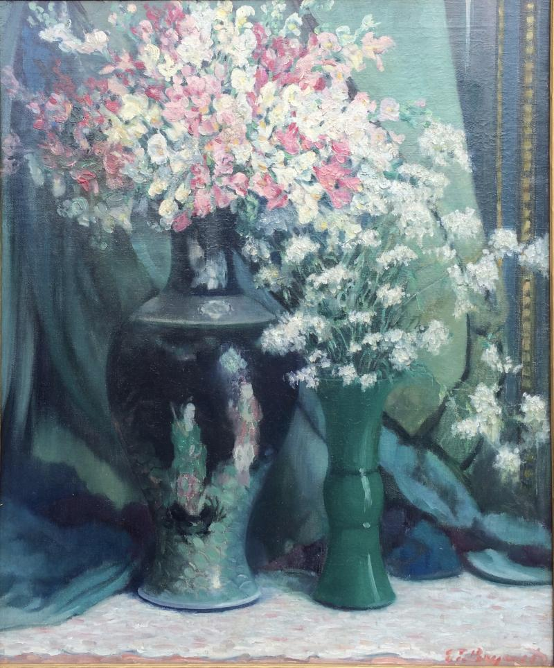 Everett Lloyd Bryant Delicate Bouquet in an Chinese Vase with Figures