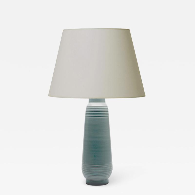Ewald Dahlskog Tall pale blue table lamp by Ewald Dahlskog