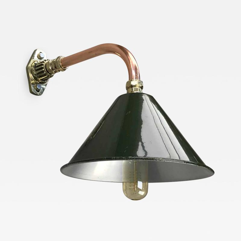 Ex British Army Cantilever Wall Lamp with Original Green Shade
