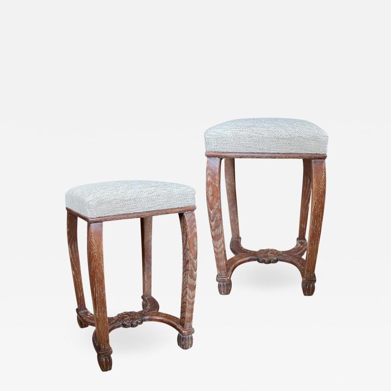 Exceptional Custom Pair of Swedish Art Nouveau Stools in Oak