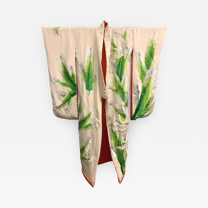 Exceptional Embroidered Brocade Vintage Japanese Ceremonial Kimono