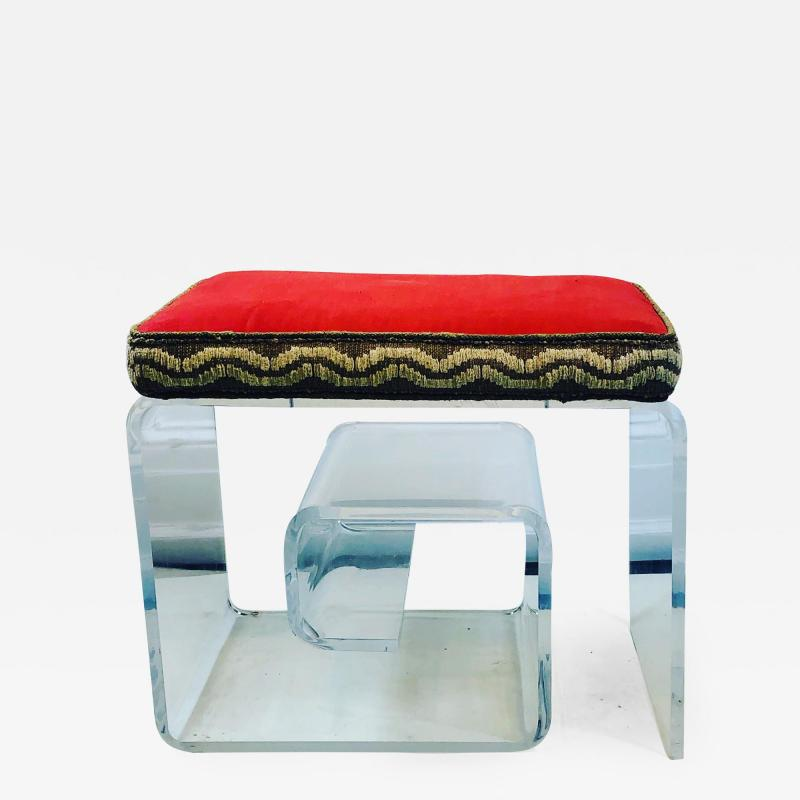 Exceptional Lucite Bench with Greek Key Design