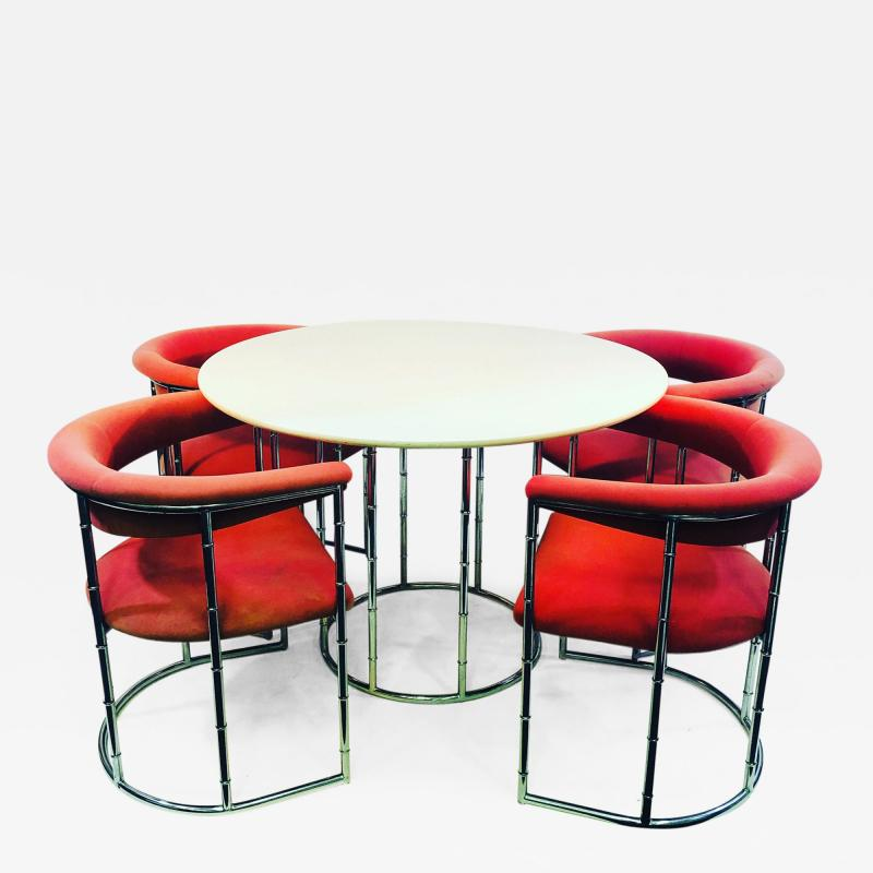 Exceptional Midcentury Style Faux Bamboo Chrome Dining Set