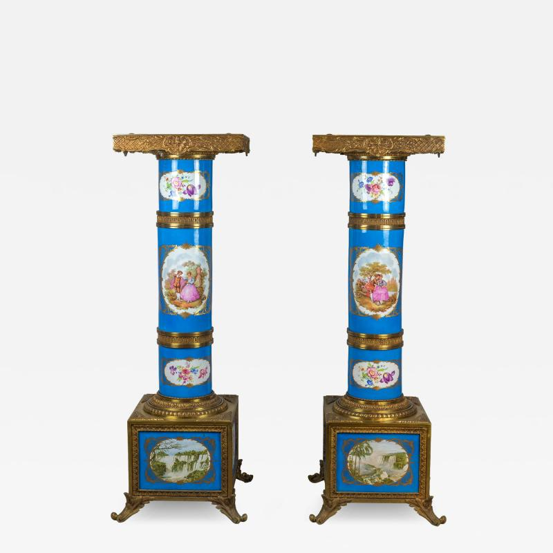 Exceptional Pair of Turquoise Ground S vres Porcelain and Gilt Bronze Pedestals