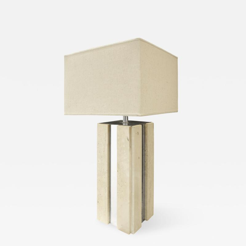 Exceptional Traventine Table Lamp With Chrome Accents 1960s