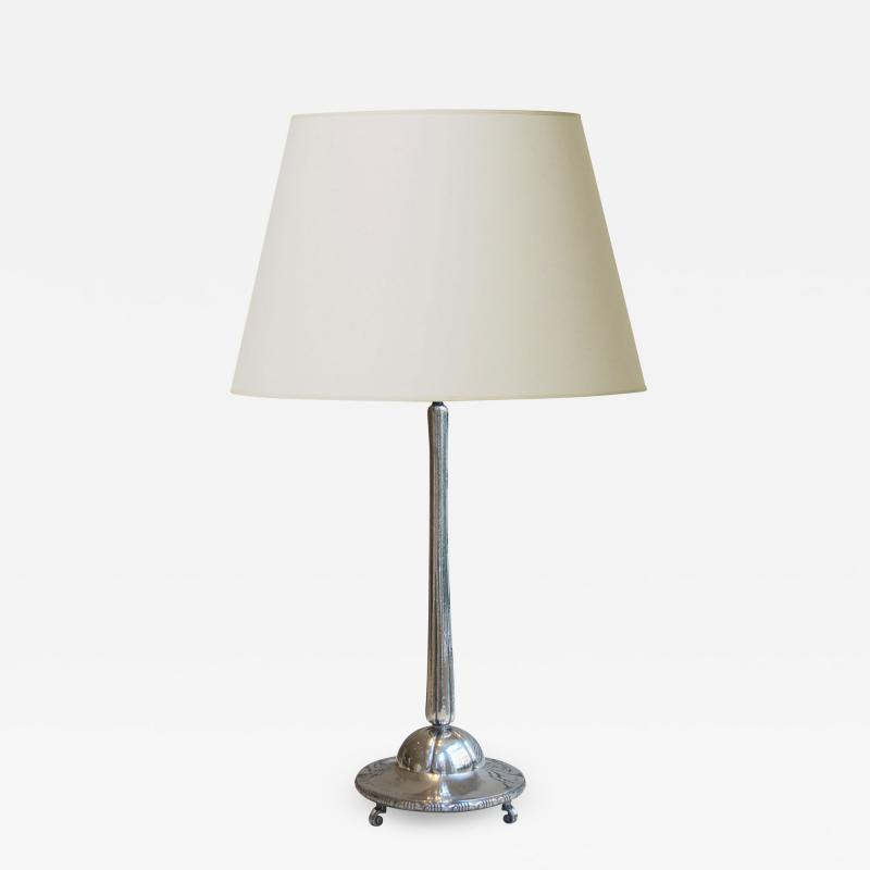 Exquisite Monumental Arts and Crafts Table Lamp in Silver by K Anderson