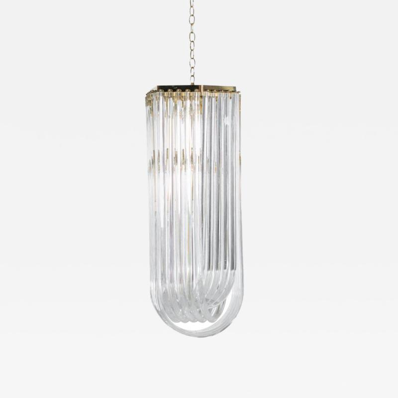 Extra Large Sculptural Lucite and Brass Chandelier c 1970s
