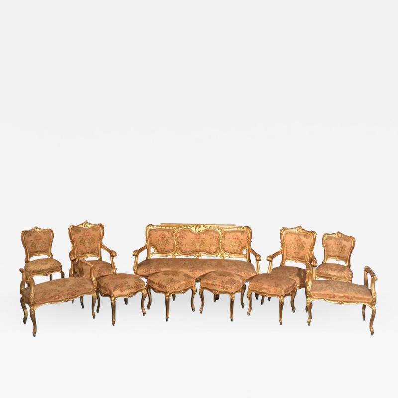 Extraordinary Italian Eleven Piece Gilt Salon Living Room Suite 19th Century