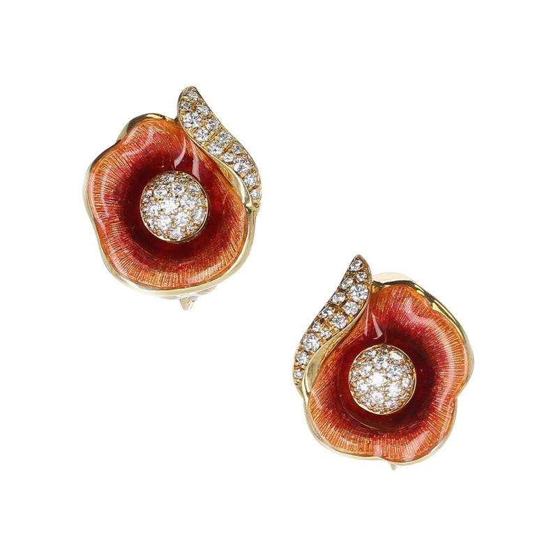 FABERG FLORAL ENAMEL AND DIAMOND EARRINGS 18 KARAT YELLOW GOLD