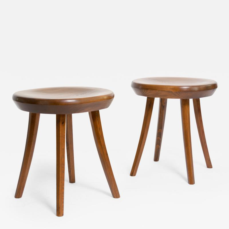 FINNISH MID CENTURY STAINED PINE STOOLS