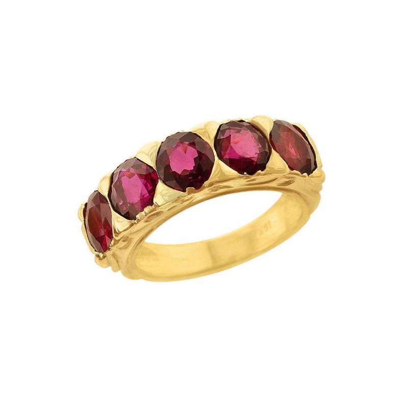 FIVE STONE RUBY BAND 18K YELLOW GOLD
