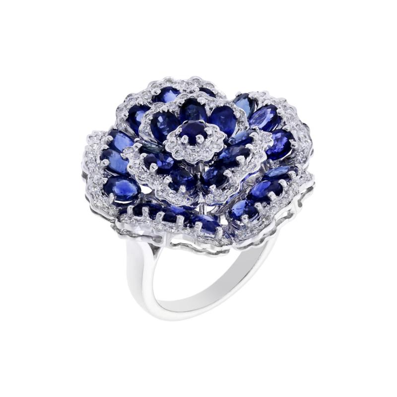 FLORAL BLUE SAPPHIRE AND DIAMOND RING