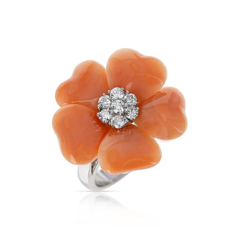 FLORAL CORAL RING WITH 0 27 CT DIAMONDS 18K WHITE GOLD