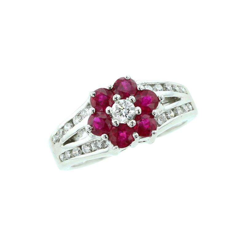 FLORAL RED RUBY RING WITH DIAMONDS IN 14K WHITE GOLD