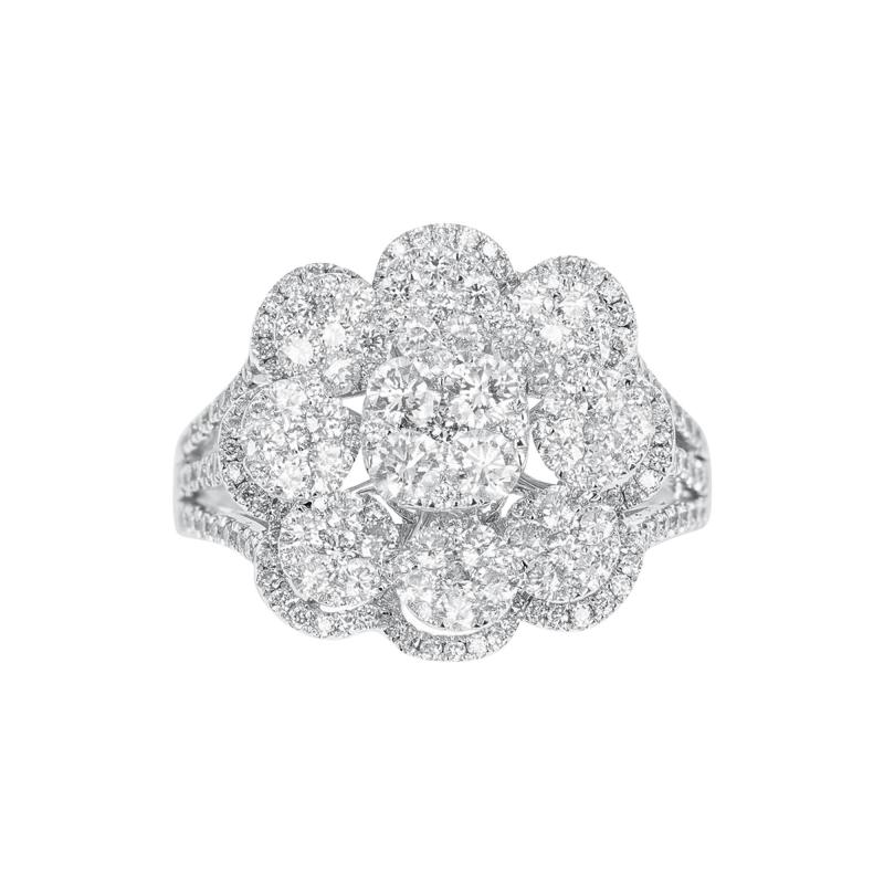 FLORAL ROUND DIAMONDS COCKTAIL RING 18K WHITE GOLD