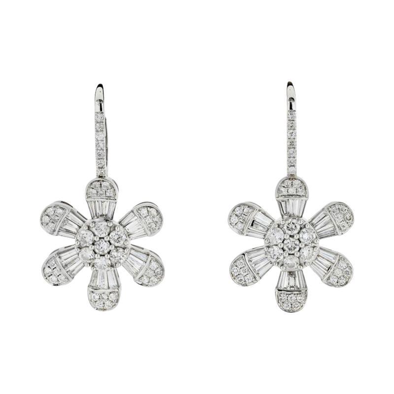 FLOWER 14K WHITE GOLD 4 08 CARAT DIAMOND DROP DANGLE EARRINGS