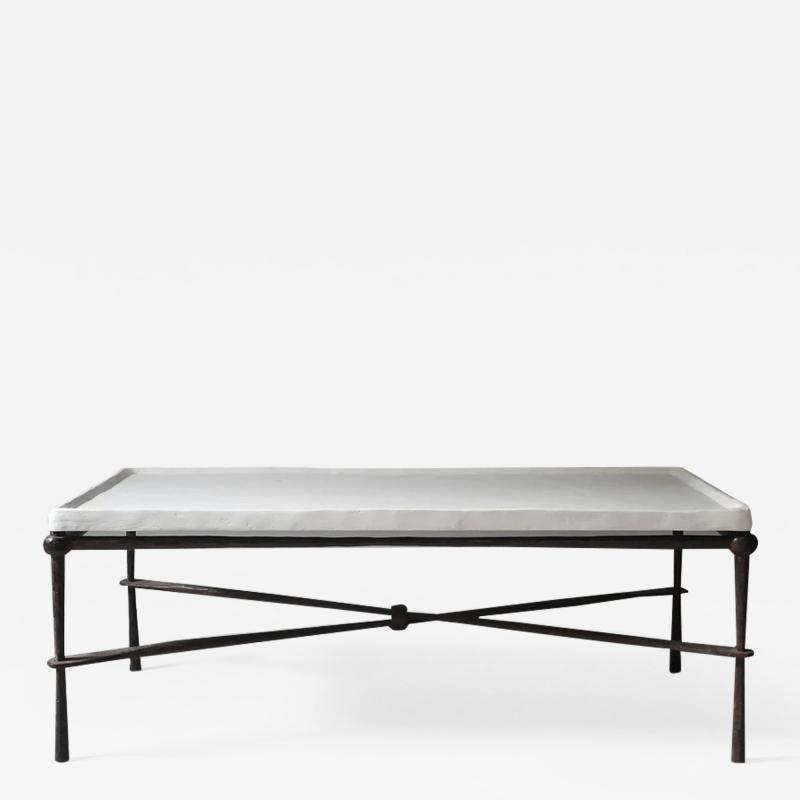 FORGED IRON TABLE BASE WITH PLASTER TOP