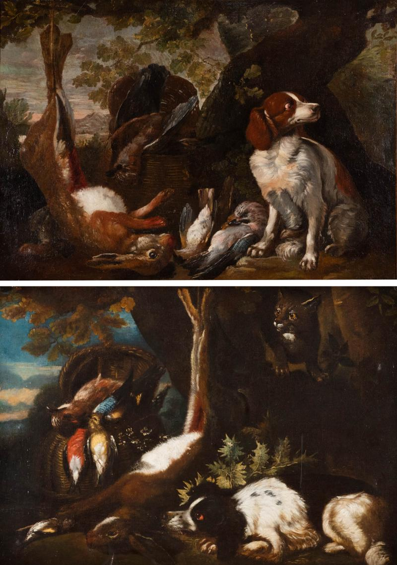 FRANZ WERNER VON TAMM PAIR OF HUNTING STILL LIFE PAINTINGS OF SPANIELS Late 17th century