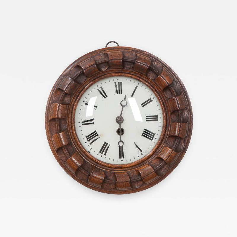 FRENCH 19TH CENTURY HAND CARVED OAK WALL CLOCK