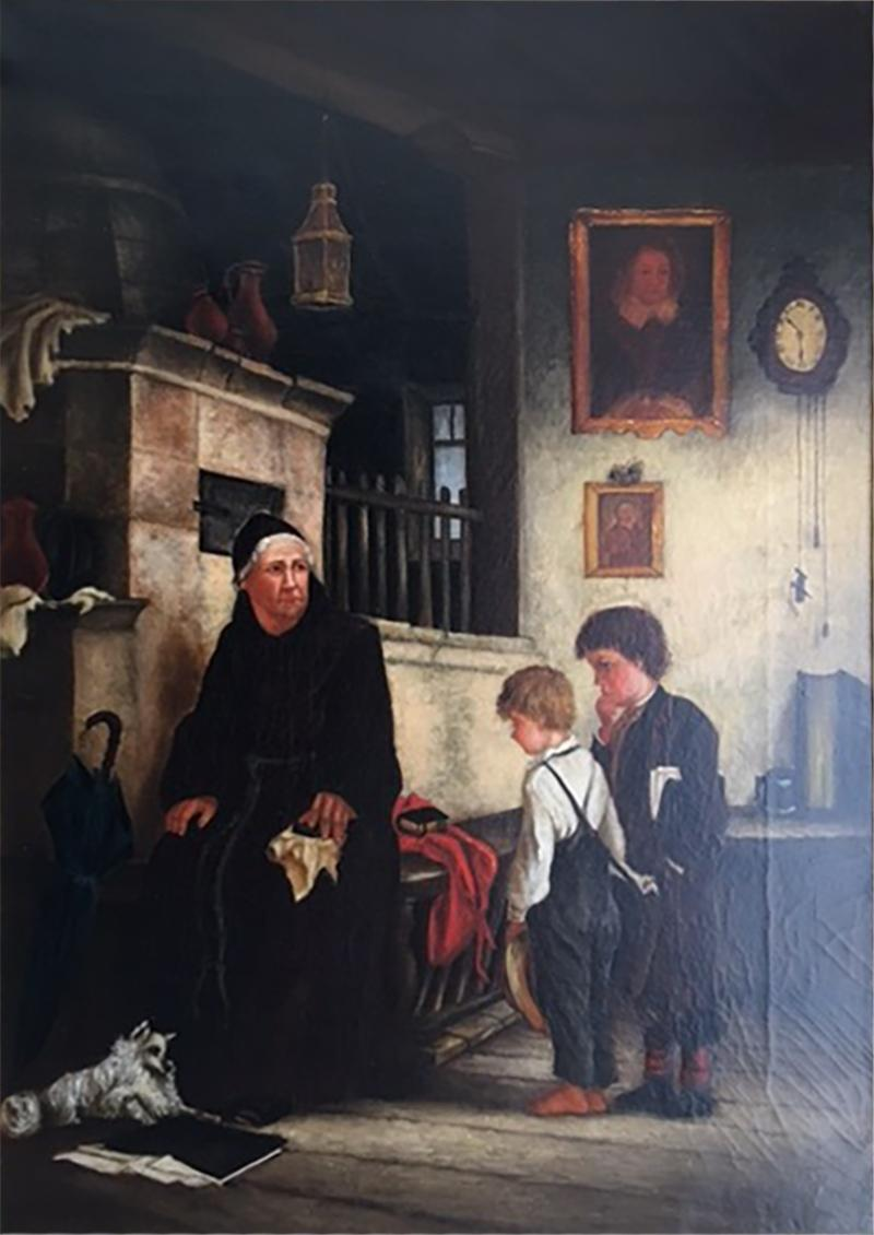 FRENCH 19TH CENTURY PAINTING OF MAN CHILDREN AND DOG IN DETAILED ROOM