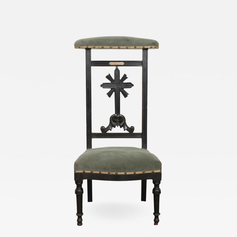 FRENCH 19TH CENTURY UPHOLSTERED AND EBONIZED PRIE DEUX