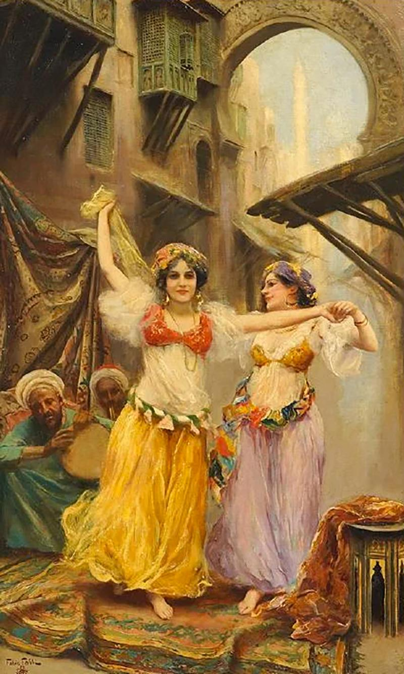Fabio Fabbi A Fine Fabio Fabbi Orientalist Painting of Courtyard Dancers