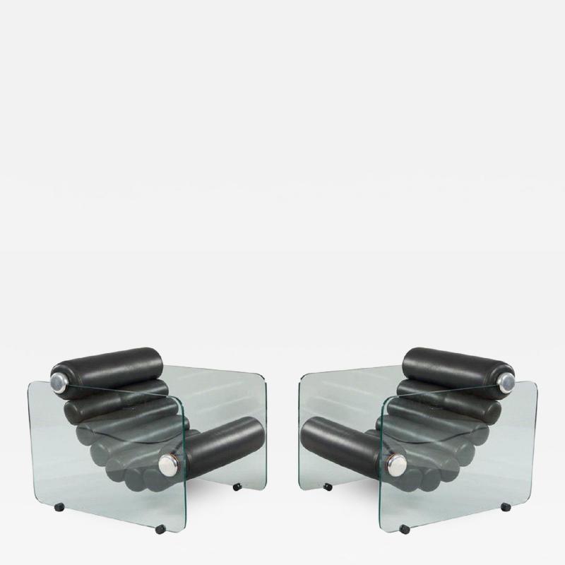 Fabio Lenci Pair Of Hyaline Lounge Chairs By Fabio Lenci