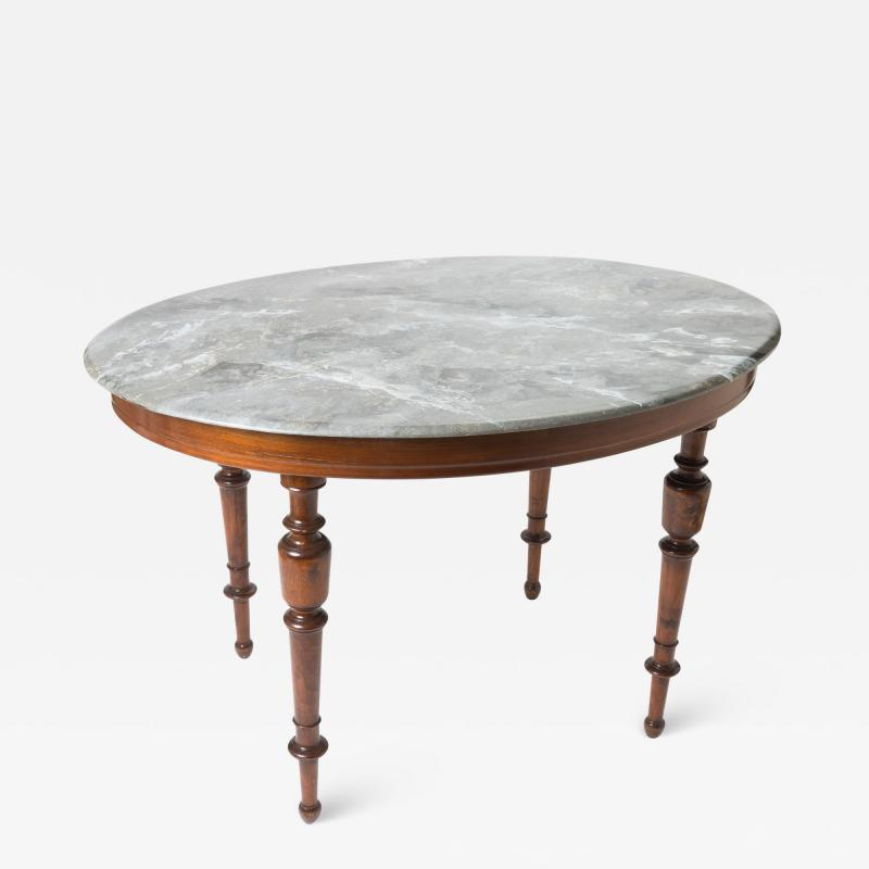 Faux marble painted oval top campaign table