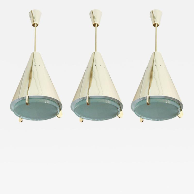 Fedele Papagni Limited Edition Brass and Glass Pendants by Papagni for Gaspare Asaro