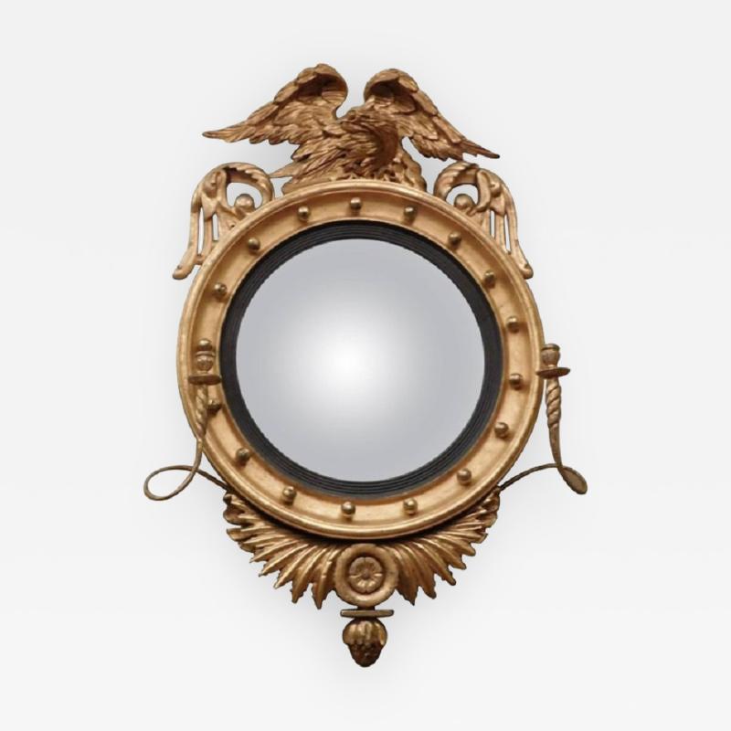 Federal Carved and Gilt Girandole Convex Mirror