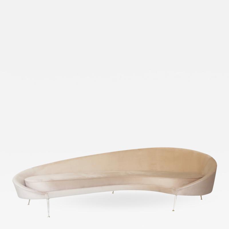 Federico Munari Federico Munari Curved Form Brass Legged Italian Blush Velvet Upholstered Sofa