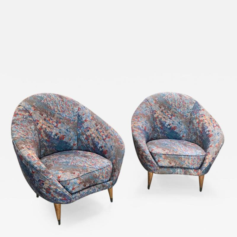 Federico Munari Federico Munari Mid Century Italian Curved Lounge Chairs 1958