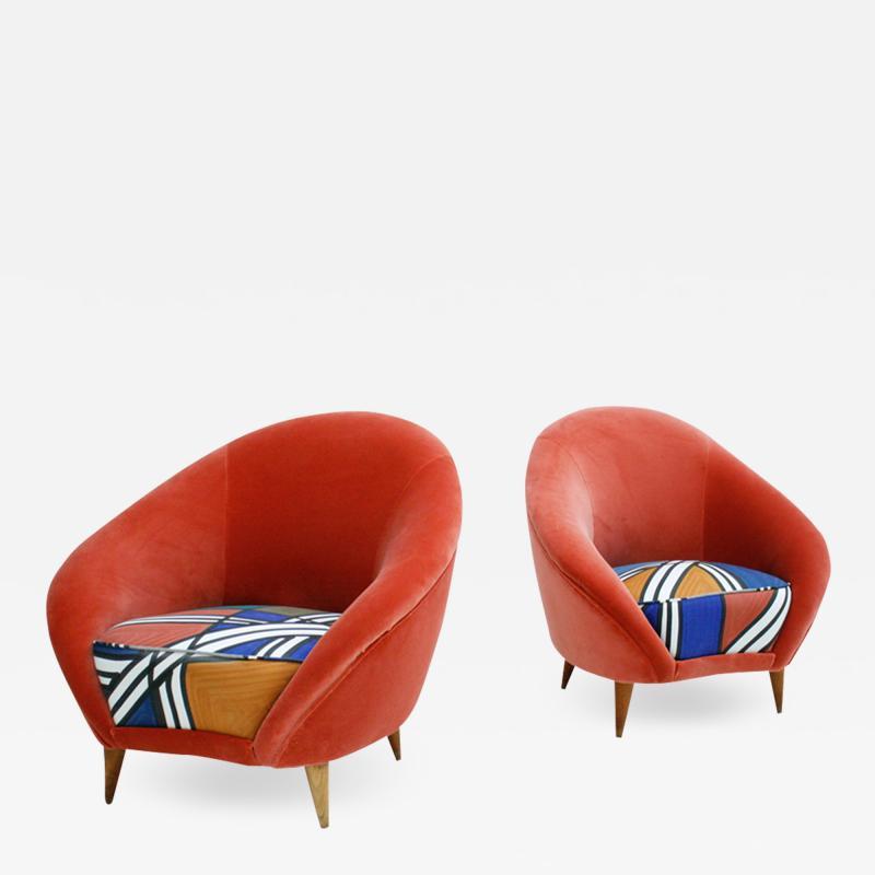 Federico Munari Federico Munari Mid Century Modern Velvet Pair of Italian Armchairs