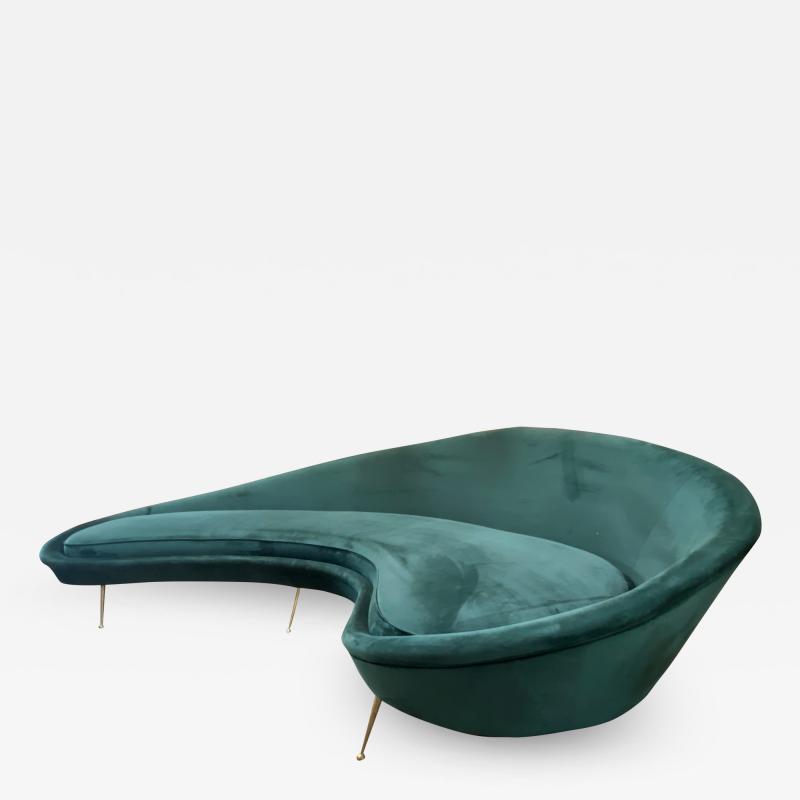 Federico Munari Federico Munari StyIe Green Velvet Curved Sofa with Brass Legs Italy 1960s